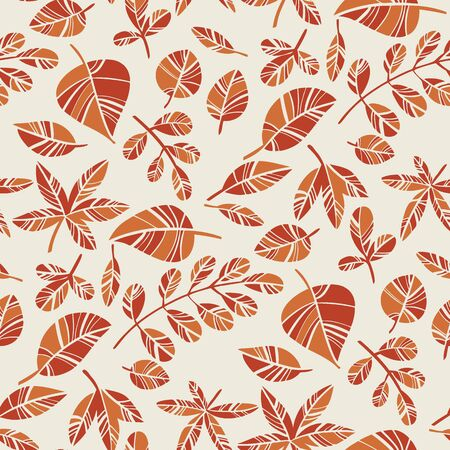 Orange autumn foliage decorative seamless pattern for background, fabric, textile, wrap, surface, web and print design. Simple cute abstract fall leaves rapport.