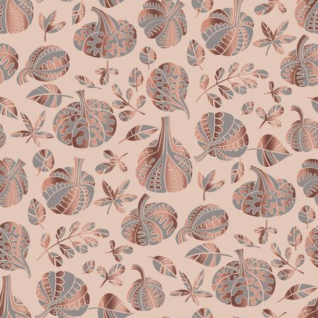 Rose gold and gray decorative pumpkin seamless pattern for background, fabric, textile, wrap, surface, web and print design. Elegant oriental fall symbol vegetable rapport.  Ilustração