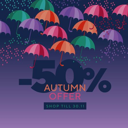 Autumn colorful umbrellas composition. Fall design element for card, header, invitation, poster, social media, post publication. Fall foliage on red background.