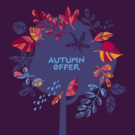 Abstract autumn tree with fallen leaves and yellowed foliage for card, header, invitation, poster, social media, post publication. Fall foliage on deep violet background.   Ilustração