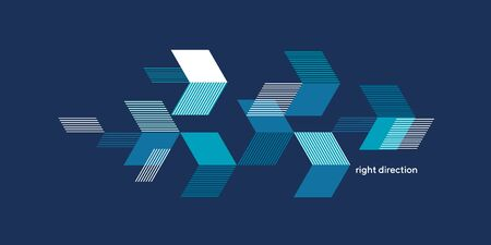 Textured arrows on blue background geometric composition for card, header, invitation, poster, social media, post publication. Concept sport dynamic design.   Ilustração