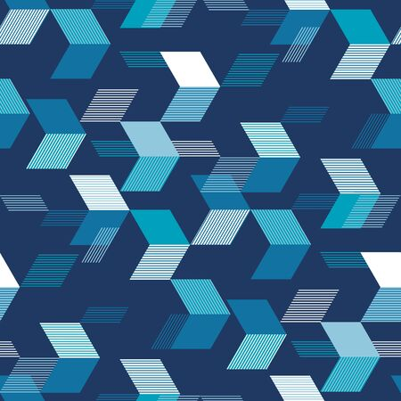 Textured arrows on blue seamless pattern for background, fabric, textile, wrap, surface, web and print design. Concept dynamic tile design for sport projects.