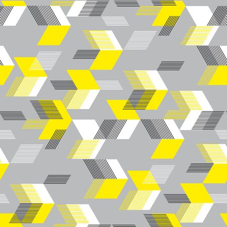 Neon yellow arrows on gray seamless pattern for background, fabric, textile, wrap, surface, web and print design. Concept dynamic tile design for sport projects.   Ilustração