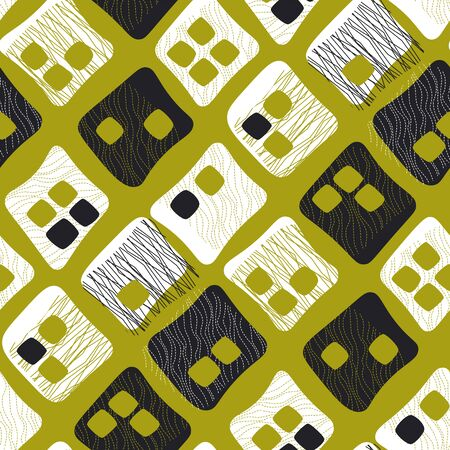 Mid century vibes checkered pattern in chartreuse color. Retro style seamless pattern for background, fabric, textile, wrap, surface, web and print design. Banco de Imagens - 135938721