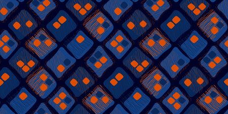 Mid century style contrast orange and night blue color seamless pattern for background, fabric, textile, wrap, surface, web and print design. Abstract rounded square shapes and lines tile rapport. Ilustração