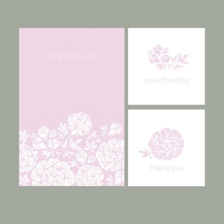 Decorative peony silhouette cards set for card, header, invitation, poster, social media, post publication. Elegant light wedding style floral element.