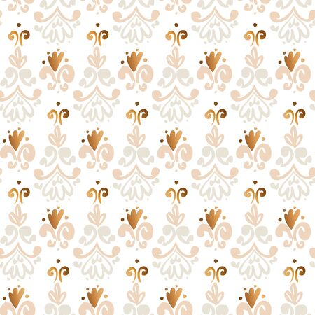 Cute gold and gray classic curls seamless pattern for background, fabric, textile, wrap, surface, web and print design. French inspired hand drawn sketch baroque rapport.