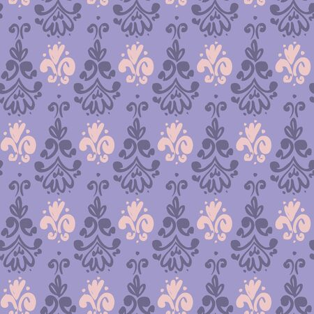 Naive brush paint style violet wallpaper seamless pattern for background, fabric, textile, wrap, surface, web and print design. French inspired hand drawn sketch curves baroque rapport. Ilustração