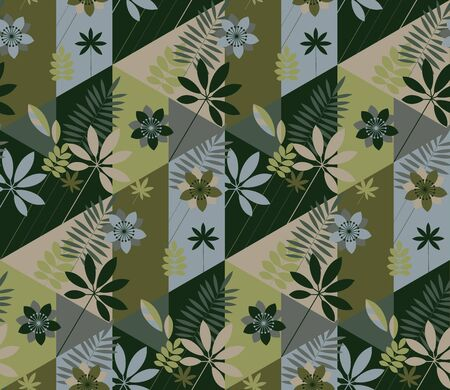 khaki color tropical nature seamless pattern for background, fabric, textile, wrap, surface, web and print design. Geometric abstract flowers and leaves for modern sport projects. Ilustração