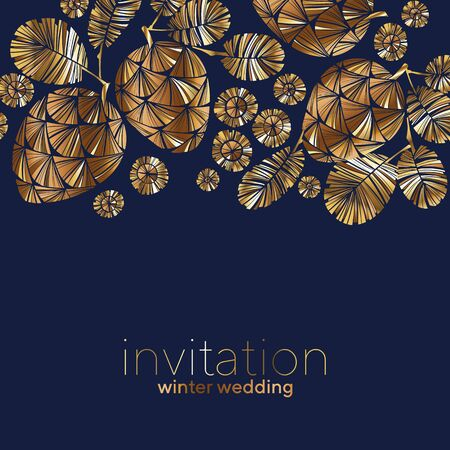 Luxury golden winter pine cone on deep blue color for card, header, invitation, poster, social media, post publication. Invitation vector template for winter holiday gretings. Banco de Imagens - 137604513