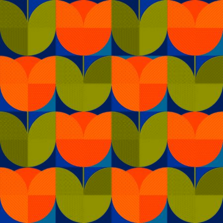 Abstract orange color geometric spring tulip seamless pattern for background, fabric, textile, wrap, surface, web and print design. Decorative retro style colorful floral rapport.
