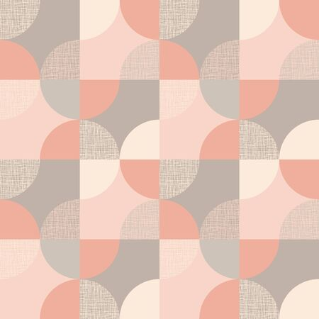 Circular geometric shapes tender pastel seamless pattern for background, fabric, textile, wrap, surface, web and print design. rosy elegant rapport.