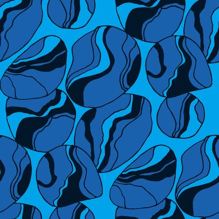 Blue water decorative seamless pattern for background, fabric, textile, wrap, surface, web and print design. Elegant liquid river stone rapport.