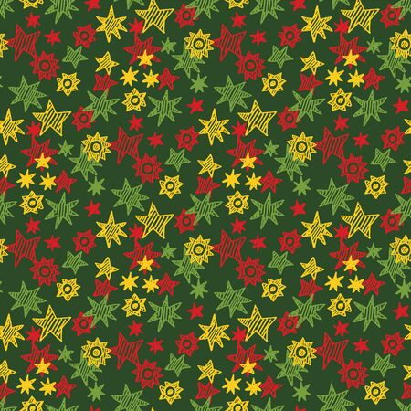 Decorative doodle hand drawn xmas style seamless pattern for background, fabric, textile, wrap, surface, web and print design. fun kiddy colorful red and green Christmas rapport. Banco de Imagens - 138346788