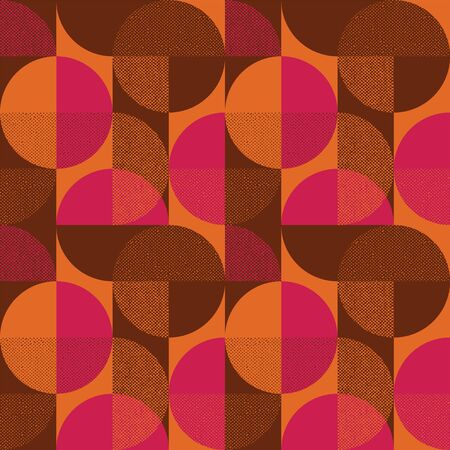 Abstract round shape geometry seamless pattern for background, fabric, textile, wrap, surface, web and print design. Decorative retro style colorful geometric red and orange rapport.