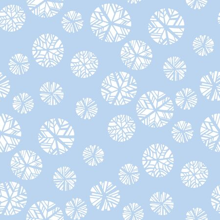 Cute and simple mosaic snowflakes style seamless pattern for background, fabric, textile, wrap, surface, web and print design. Decorative geometric winter snow rapport. Xmas wrap.