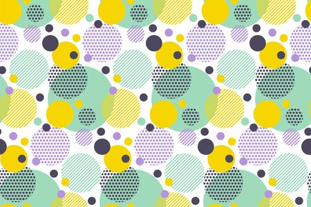 Colorful dots and geometric circle  seamless pattern. Tender pastel hue colors repeatable motif for background, wrap, fabric, textile, wrap, surface, web and print design.