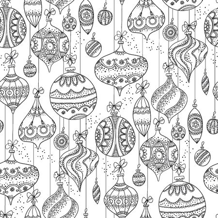 sketch style xmas baubles seamless pattern for background, fabric, textile, wrap, surface, web and print design. Decorative hand drawn Christmas ornaments. Xmas wrap.