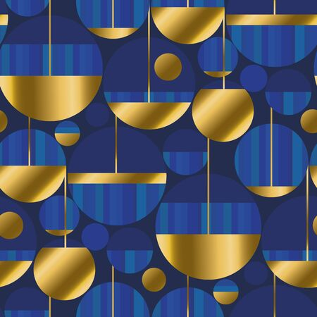 Round shapes seamless pattern in classic deep blue colors. Retro luxury style repeatable motif for fabric, textile, wrap, surface, wallpaper, web and print design. Ilustração