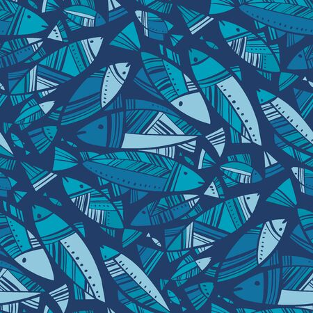 Blue mosaic Nord fish seamless pattern for background, fabric, textile, wrap, surface, web and print design. Mosaic herring decorative rapport. . Ilustração