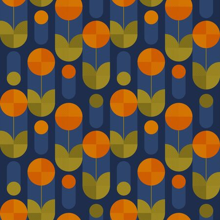 Abstract round shape spring flowers seamless pattern for background, fabric, textile, wrap, surface, web and print design. Decorative retro style colorful geometric floral rapport. Banco de Imagens - 138346819