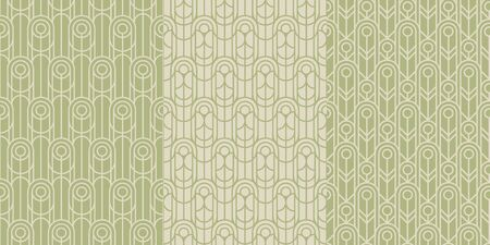 minimalistic art deco style linear seamless pattern for background, fabric, textile, wrap, surface, web and print design. elegant geometric ornament in mint color Ilustração