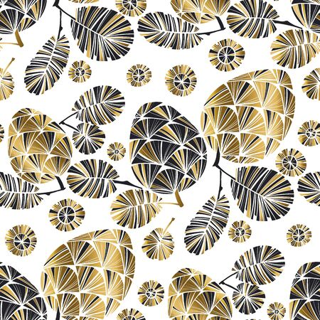 Gold and black winter holiday  seamless pattern for background, fabric, textile, wrap, surface, web and print design. Elegant laconic foliage repeatable rapport with pine cone silhouette.