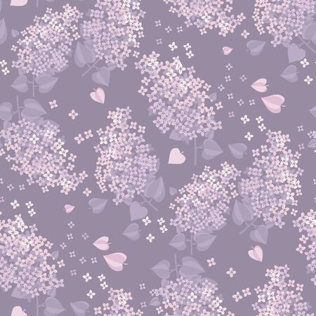 Tender spring lilac blossom twigs seamless pattern for background, wrap, fabric, textile, wrap, surface, web and print design. Decorative pale delicate color floral repeatable motif