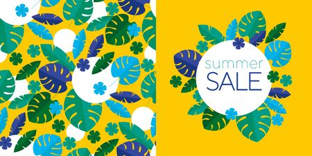 Green tropical leaves summer sale banner on yellow. Poster template banner with palm leaves, jungle leaf. Floral tropical composition for card, header, invitation, poster, social media, post publication. Illustration