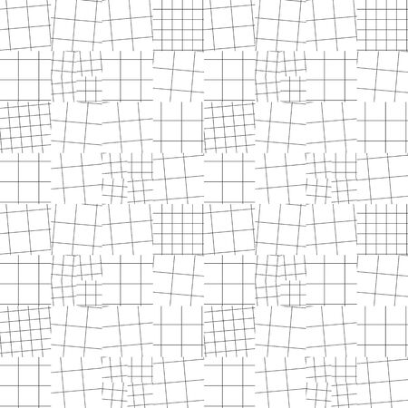 Modern light plaid seamless pattern for background, wrap, fabric, textile, wrap, surface, web and print design. Black and white geometric squire line vector repeatable motif