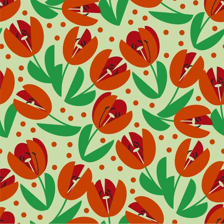 Classic traditional red tulip seamless pattern for background, wrap, fabric, textile, wrap, surface, web and print design. Cute simple spring flower repeatable motif. Geometric vintage vibes floral illustration.
