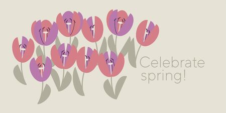 Cute elegant pastel rosy tulip element for card, header, invitation, poster, social media, post publication. Simple pale color spring flower vector motif. Geometric kiddy vibes floral illustration. Illustration