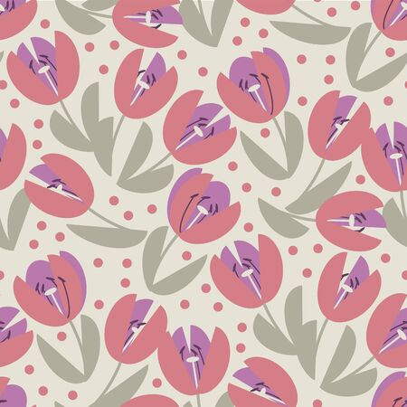 Cute elegant pastel rosy tulip seamless pattern for background, wrap, fabric, textile, wrap, surface, web and print design. Simple pale color spring flower repeatable motif. Geometric kiddy vibes floral illustration.