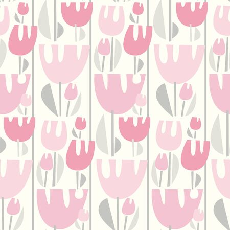 Funny awkward pastel rosy tulip seamless pattern for background, wrap, fabric, textile, wrap, surface, web and print design. Simple pale color spring flower repeatable motif. Geometric modern style floral illustration. Иллюстрация