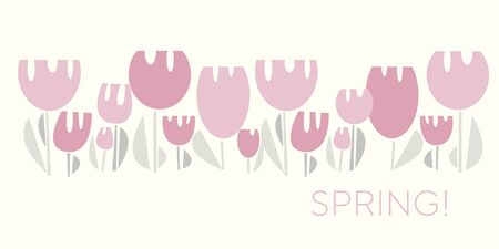 Funny awkward pastel rosy tulip element for card, header, invitation, poster, social media, post publication. Simple pale color spring flower vector motif. Geometric modern style floral illustration. Иллюстрация