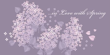 Tender lilac spring flower blossom vector element for card, header, invitation, poster, social media, post publication. Light pale color romantic mood motif Illustration