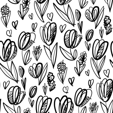 Fun and cute sketch tulip seamless pattern for background, wrap, fabric, textile, wrap, surface, web and print design. graphic brush style sprint floral repeatable motif Illustration