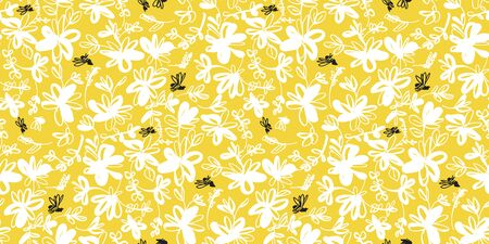 Fun and cute sketch summer floral seamless pattern for background, wrap, fabric, textile, wrap, surface, web and print design. Yellow bee and chamomile  repeatable motif Illustration