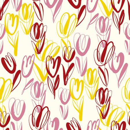 Hand drawn abstract tulip seamless pattern for background, wrap, fabric, textile, wrap, surface, web and print design. Red, pink and yellow spring floral repeatable motif Illustration