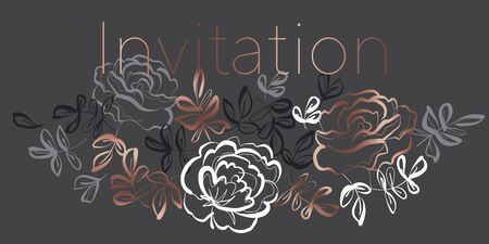 Elegant hand drawn rose floral element for card, header, invitation, poster, social media, post publication. Luxury sketch style gray and rose gold vector element.