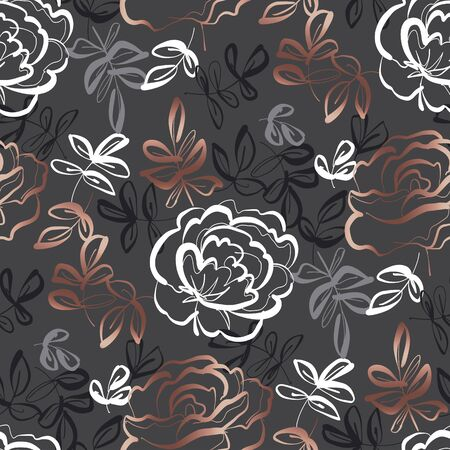 Elegant hand drawn rose floral seamless pattern for background, wrap, fabric, textile, wrap, surface, web and print design. Vector luxury style repeatable motif