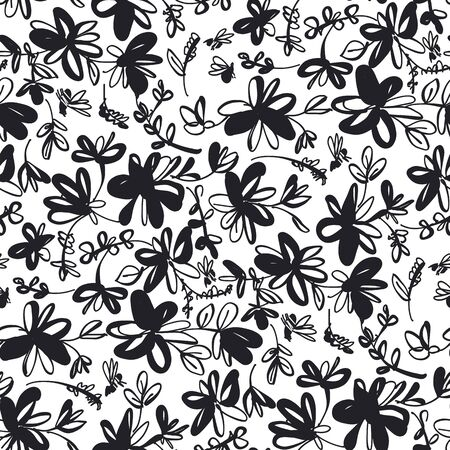 Black and white cute floral sketch seamless pattern for background, wrap, fabric, textile, wrap, surface, web and print design. Vector repeatable motif for textile with summer flower and bees. Illustration