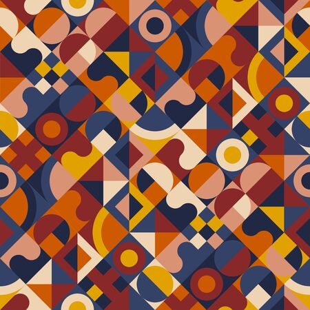 Vector background seamless pattern in retro mid century style. Geometric checkered rapport mosaic for background, wrap, fabric, textile, wrap, surface, web and print design. Illustration