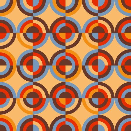 Round retro colors geometric rapport for background, wrap, fabric, textile, wrap, surface, web and print design. Vector mosaic repeatable motif. Illustration