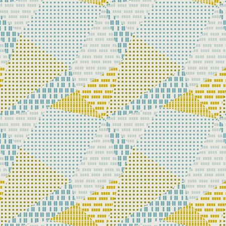Textured triangle polygon geometric seamless pattern for background, wrap, fabric, textile, wrap, surface, web and print design. Vector retro vibes repeatable motif in blue and yellow.