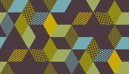 Square cube vintage color geometric seamless pattern for background, wrap, fabric, textile, wrap, surface, web and print design. Vector retro style repeatable motif Illustration
