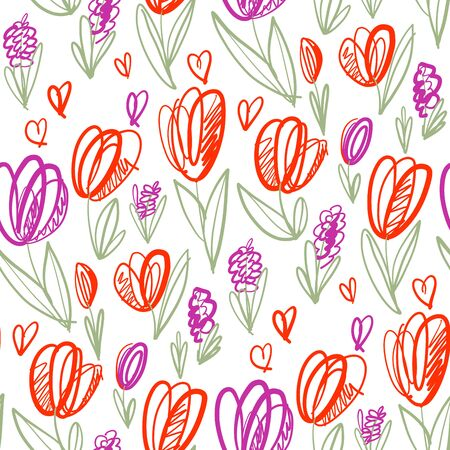 Playful naive tulip flower seamless pattern for background, wrap, fabric, textile, wrap, surface, web and print design. colorful spring floral rapport on white background.