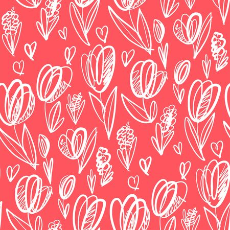 Playful mood light lovely tulip flower seamless pattern for background, wrap, fabric, textile, wrap, surface, web and print design. Monochrome spring floral rapport.