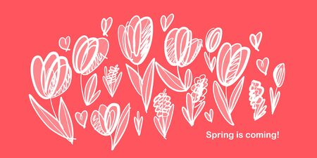Sketch abstract spring tulip composition. Design element for web banners, posters, cards, wallpapers, backdrops, panels. Illustration