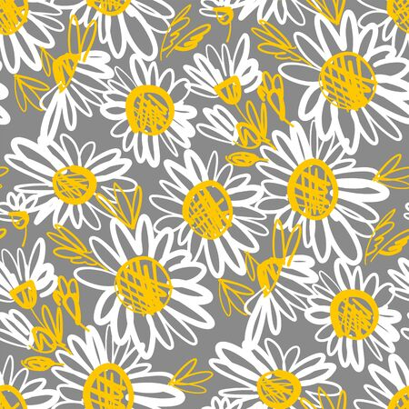 Sketch style daisy flower seamless pattern for background, wrap, fabric, textile, wrap, surface, web and print design. Simple naive summer floral rapport.